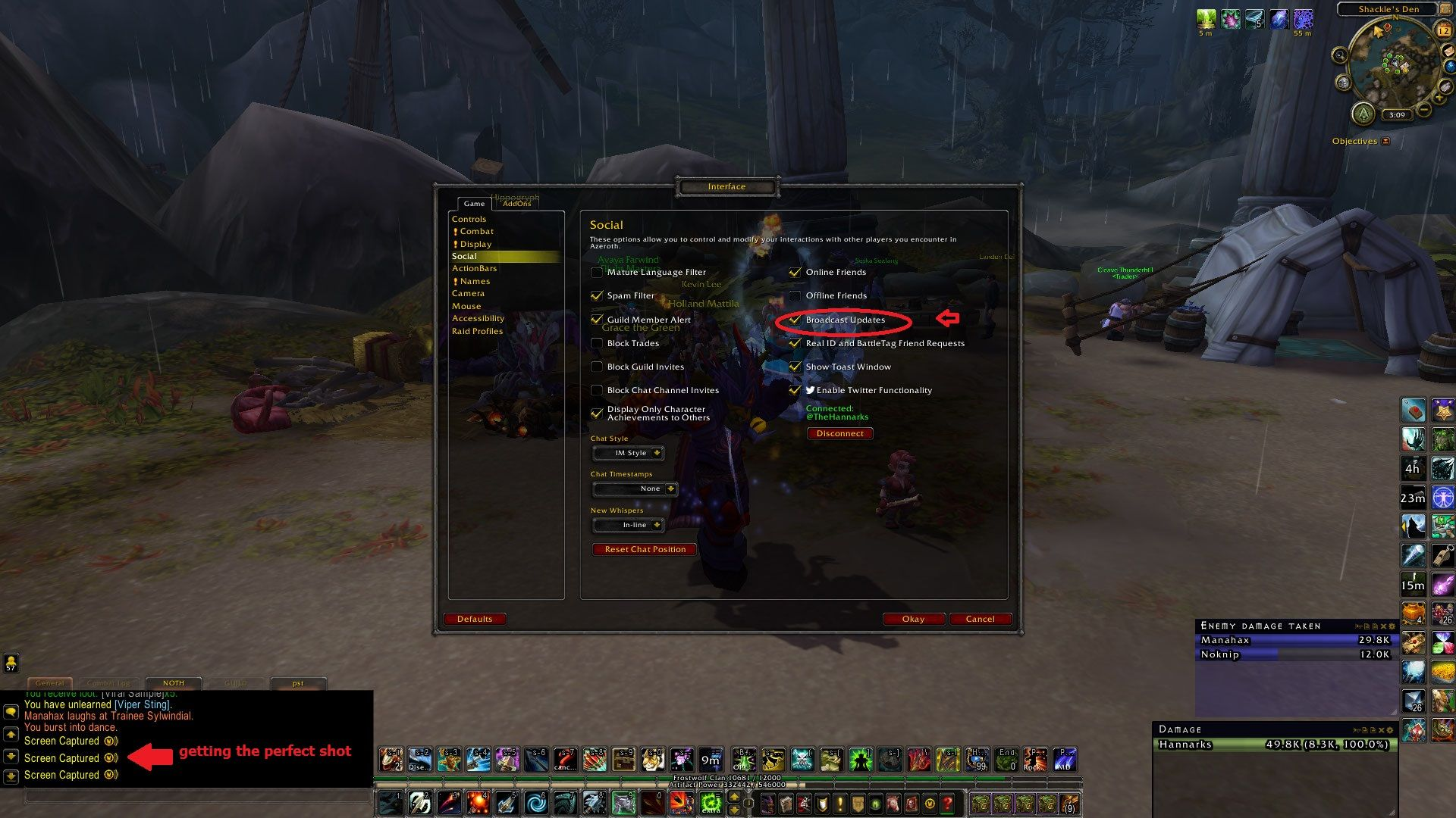 TIL: go to INTERFACE --> SOCIAL --> enable BROADCAST UPDATES. Blizz turned your friends off! RAWR! #worldofwarcraft #blizzard #Hearthstone #wow #Warcraft #BlizzardCS #gaming