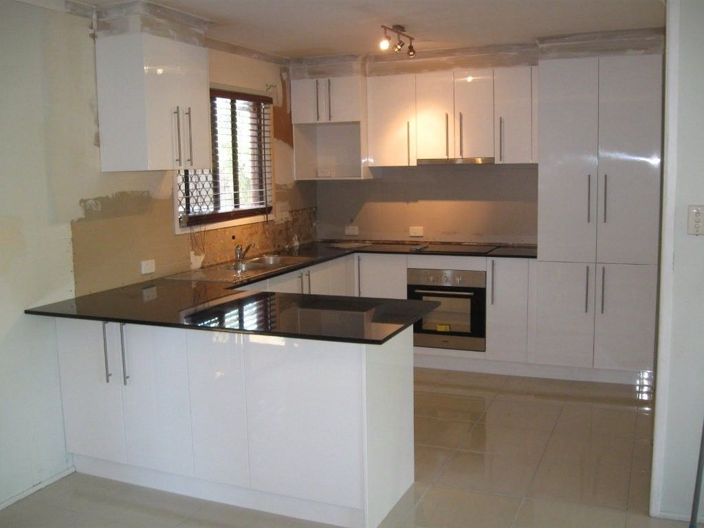 Excellent Tiny Kitchen Design Displaying U Shaped White High Gloss Lacquer  Finish Kitchen Cabinets With Black