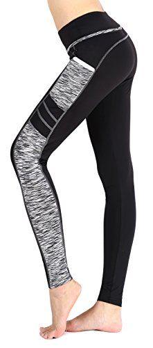 Munvot Leggings de Sport Femme Collants Maigre Running Fitness Pantalon  Sport avec Poche Taille Normale Blanc(Longue Capri Legging) S c49a8853860
