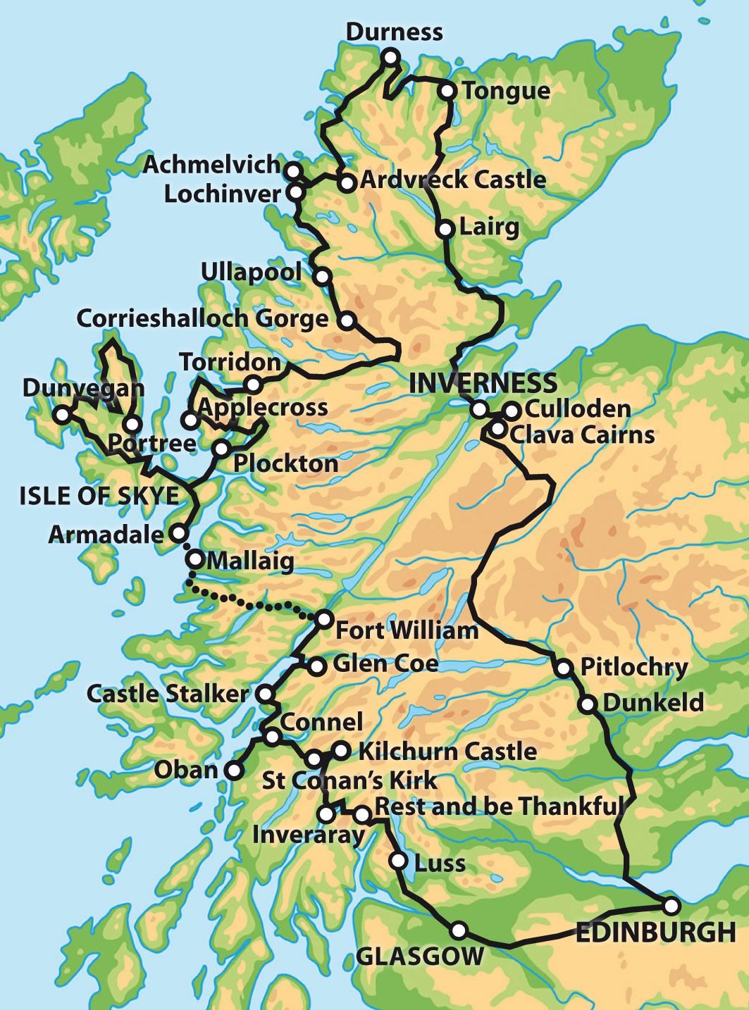 Pitlochry Scotland Map.Private 7 Day Tour The Complete Tour Of Scotland Map Road Trips