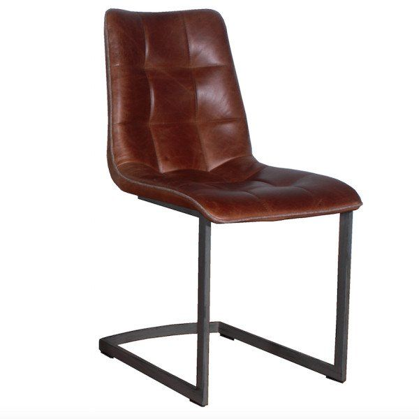 5a801cc37ab2d Dolomite Cerato Brown Leather Dining Chairs (pair)
