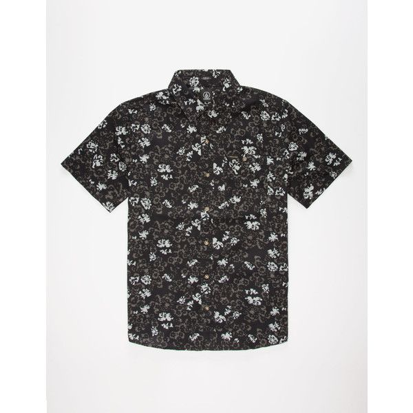 Volcom Donnie Woven Mens Shirt (38 CAD) ❤ liked on Polyvore featuring men's fashion, men's clothing, men's shirts, men's casual shirts, black, flower print mens shirt, mens casual short-sleeve button-down shirts, mens short sleeve button down casual shirts, mens button shirts and mens button front shirts