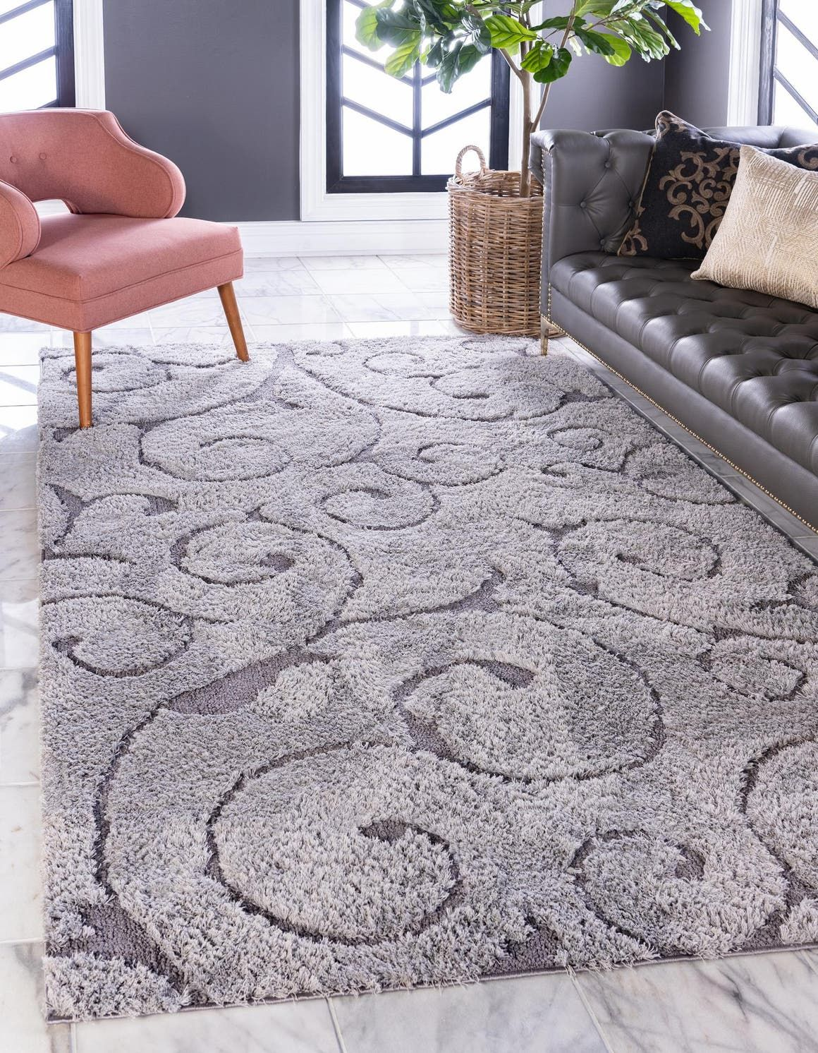 Gray Floral Shag Area Rug In 2020 Rugs