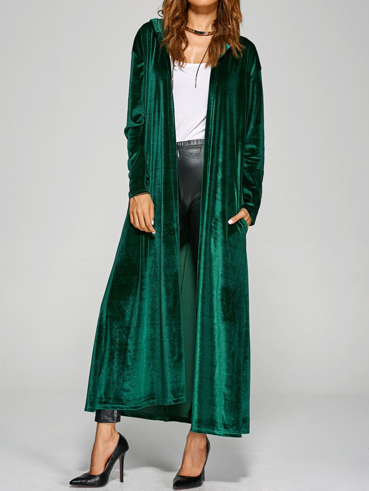 Hooded pockets velvet long coat wholesale products coats and clothes