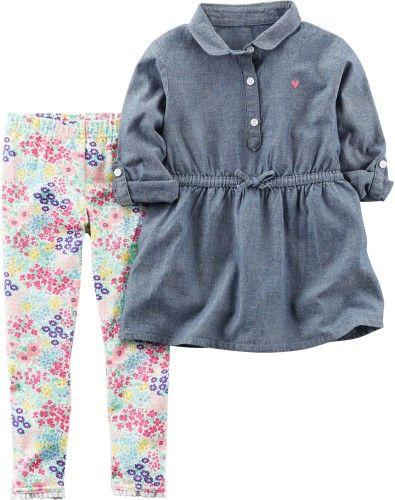Carters Toddler Girls Chambray Floral Leggings Set, Toddler Girl's, Size: 24 Months, Blue