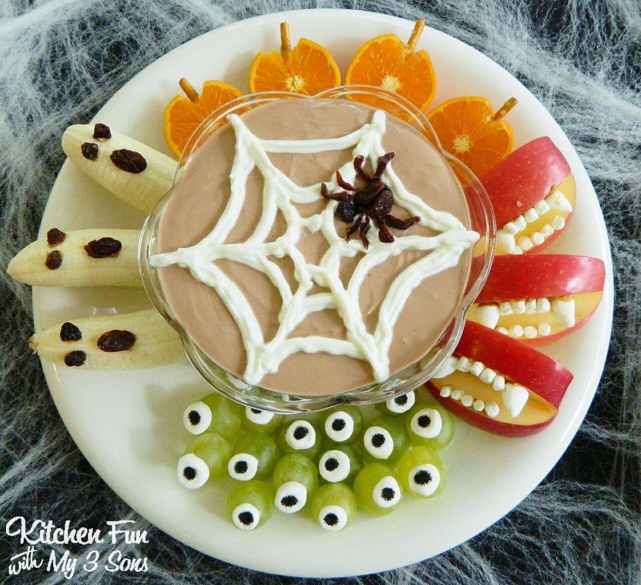 halloween greek yogurt fruit dip and spooky fruit snacks - Healthy Fun Halloween Snacks