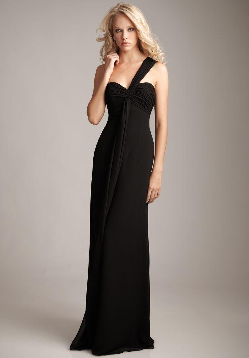 Chiffon one-shoulder sweetheart column long bridesmaid dress.