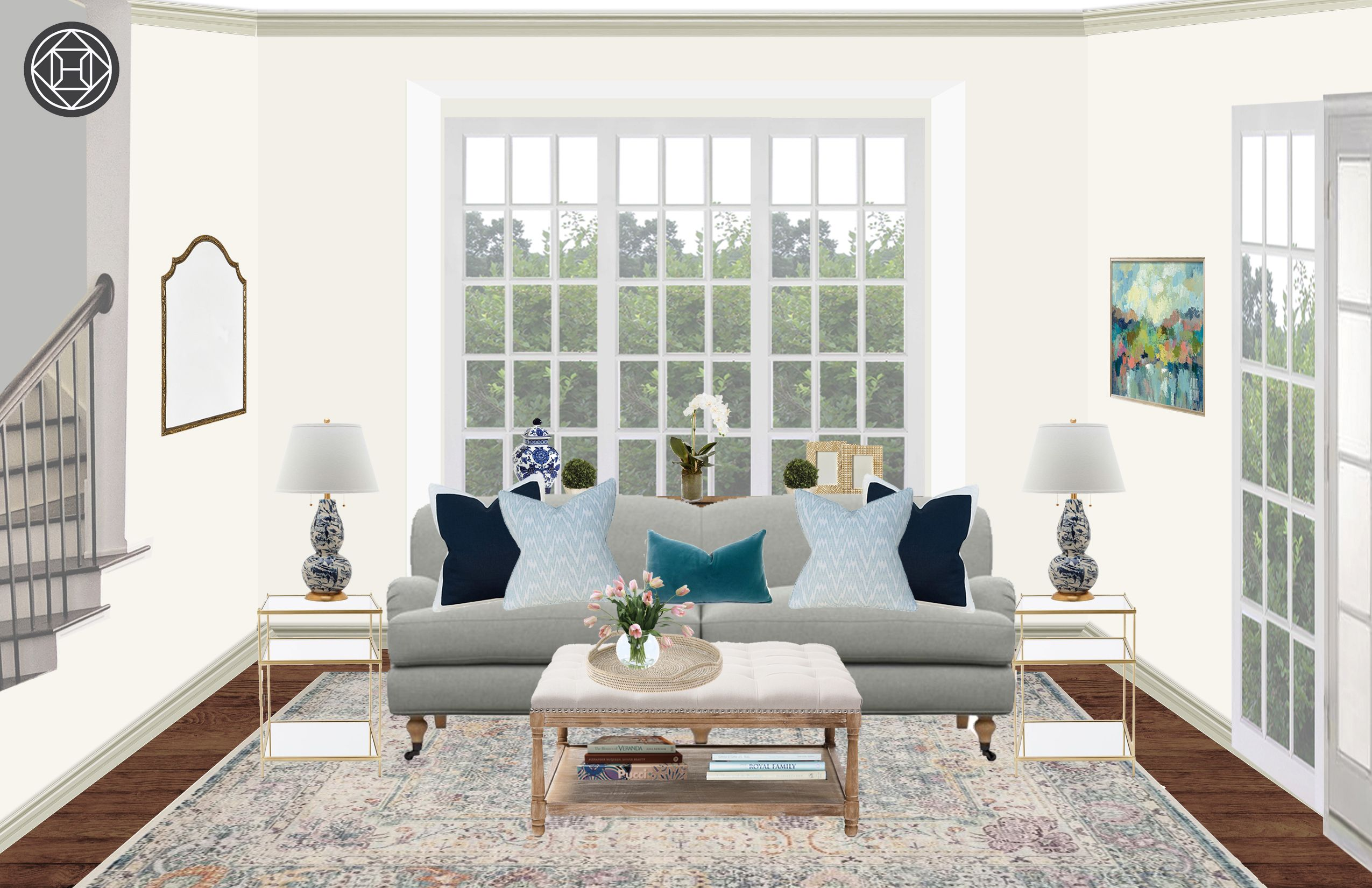 Classic Traditional Transitional Preppy Living Room Design By Havenly Interior Designer Tara Traditional Style Living Room Preppy Living Room Living Room Designs #traditional #interior #design #living #room