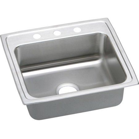Elkay LR22195 Gourmet Lustertone Stainless Steel Single Bowl Top Mount Sink with 5 Faucet Holes, Multicolor