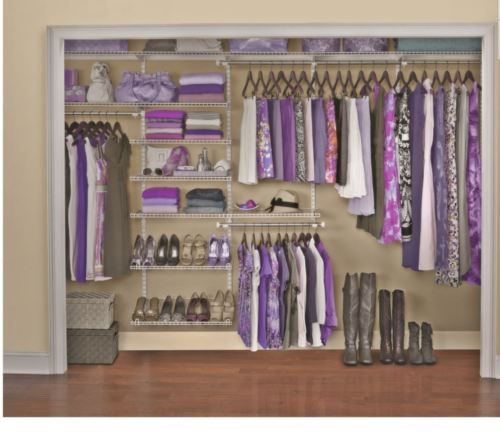 Rubbermaid Wire Mount Adjustable Closet Kit Organizer Shelf System