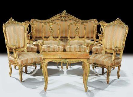 Cambi Casa d\'Aste - Salotto Luigi XV laccato e dorato, XIX secolo ...