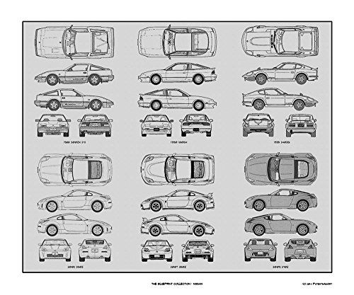 Nissan blueprint collection print car art gift 20x24 bigofficeart nissan blueprint collection print car art gift 20x24 bigofficeart malvernweather Choice Image