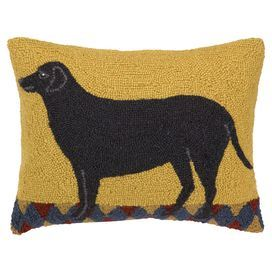"Bring a touch of charm to your living room or den seating group with this whimsical hand-hooked pillow, showcasing a dog motif.   Product: PillowConstruction Material: 100% Wool cover and polyester fillColor: Black and yellowFeatures: Insert includedDimensions: 14"" x 18""Cleaning and Care: Spot clean"