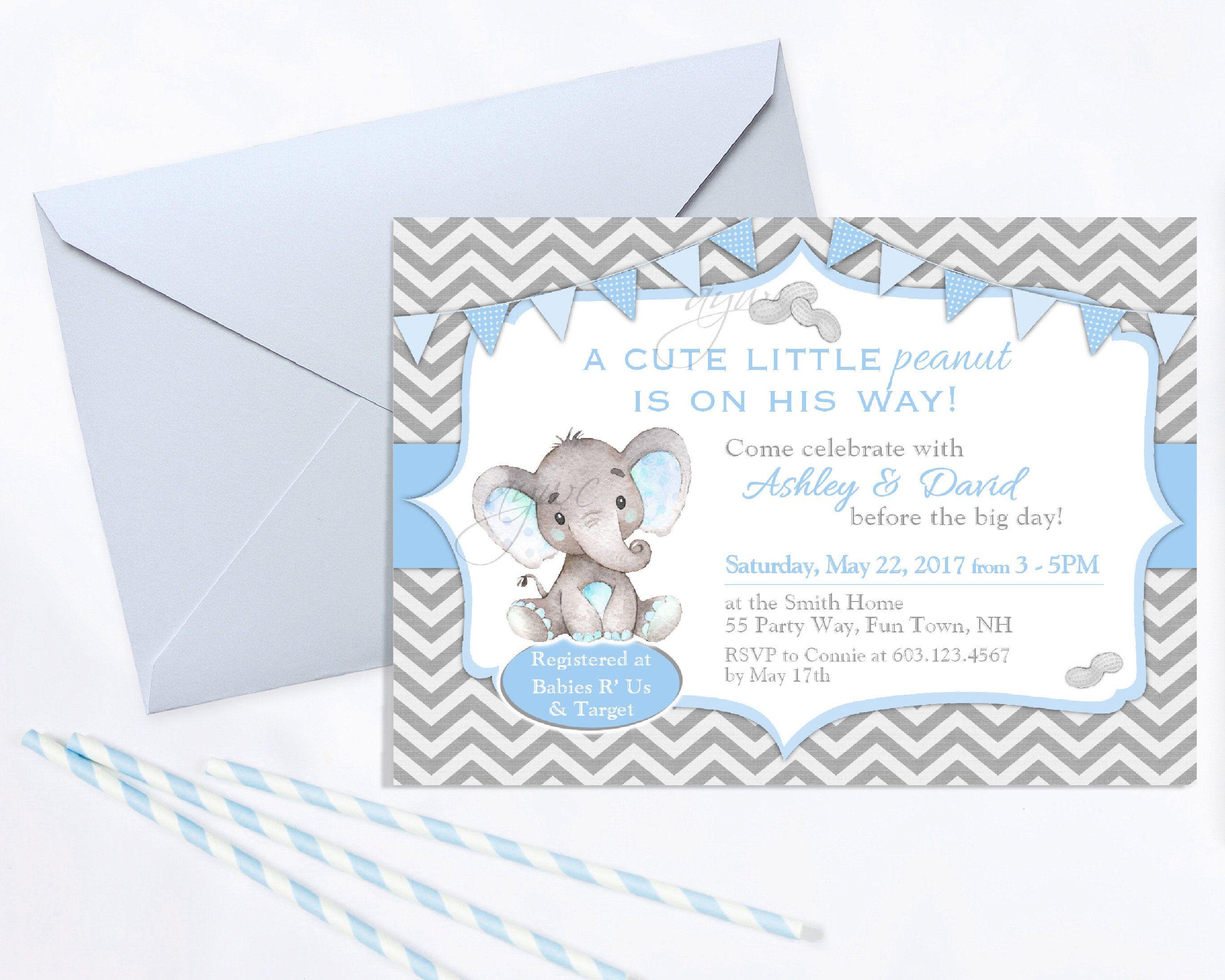 Elephant Baby Shower Invitation Boy Little Peanut Baby Shower