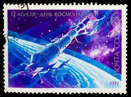 USSR - CIRCA 1978: timbre imprim� en URSS, le jour de l'exploration spatiale, la station spatiale syndicat, vaisseau spatial, vers 1978 photo