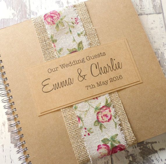 Burlap Rose Handmade Wedding Guest Book, Scrapbook