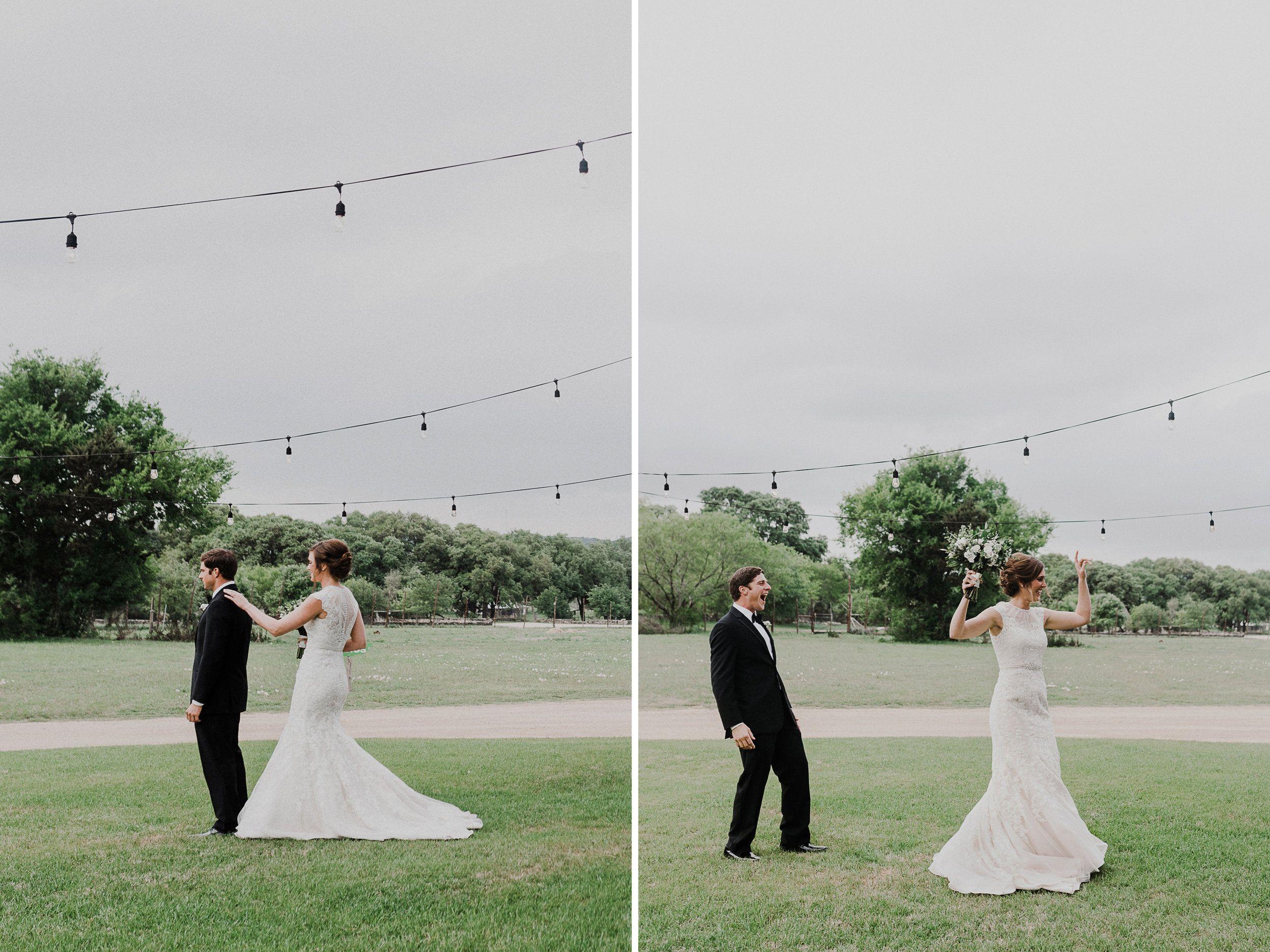First Look Grooms Reaction Austin Texas Wedding Photographer Organic Farm Adventure