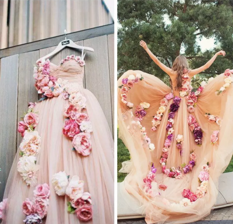 e050bb853d9c 2018 New Fashion One Shoulder With 3D Flowers Adorned Prom Dresses Sweep  Train Formal Special Occasion Party Gowns Champagne Tulle Skirt