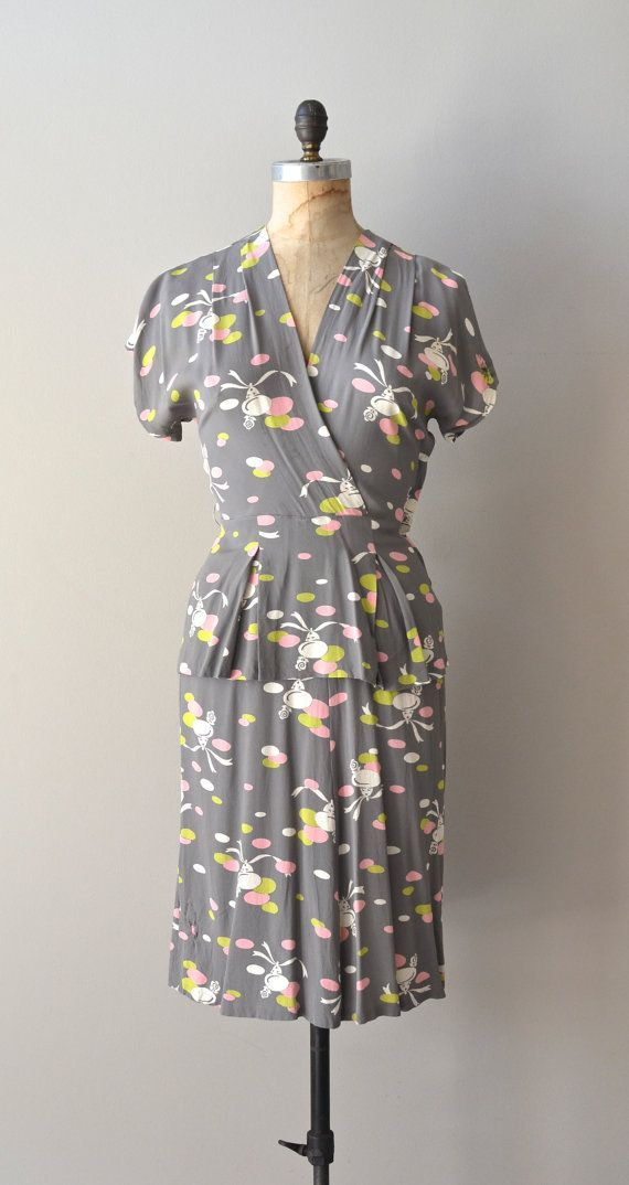 Bells Bells Bells dress • vintage 1940s dress • printed rayon 40s dress