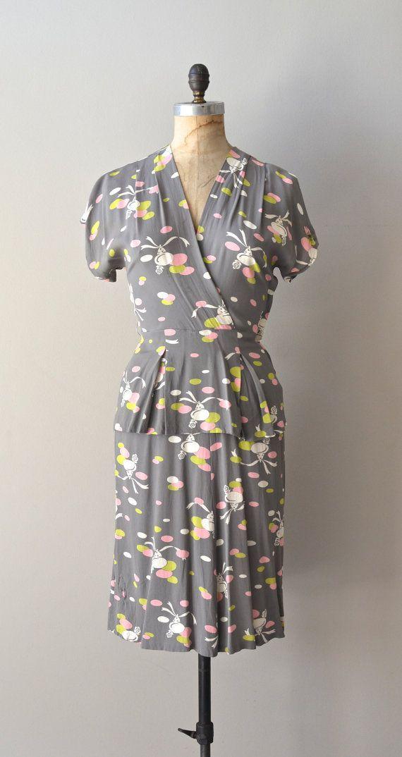 Bells Bells Bells dress • vintage 1940s dress • printed rayon 40s dress
