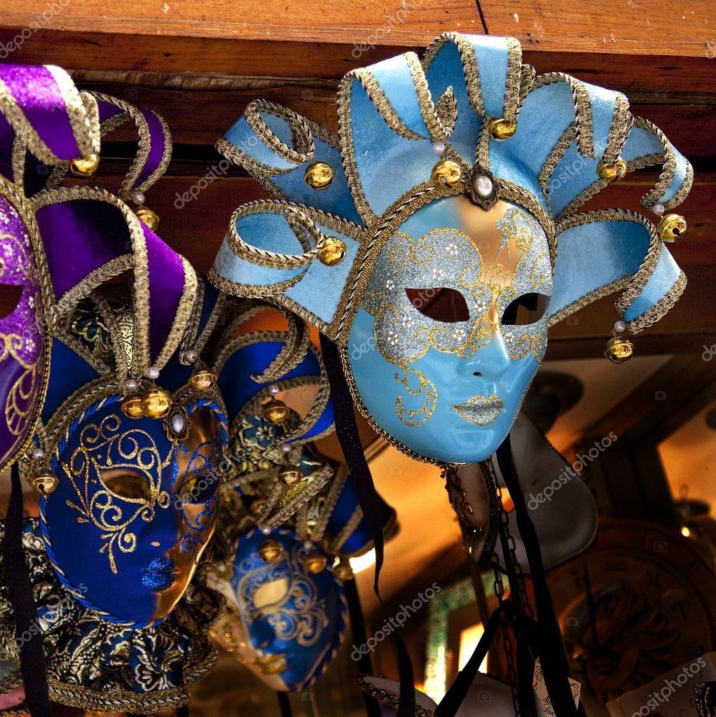 Blue Venetian Masks Venice Italy - Stock Photo , #Ad, #Masks, #Venetian, #Blue, #Venice #AD