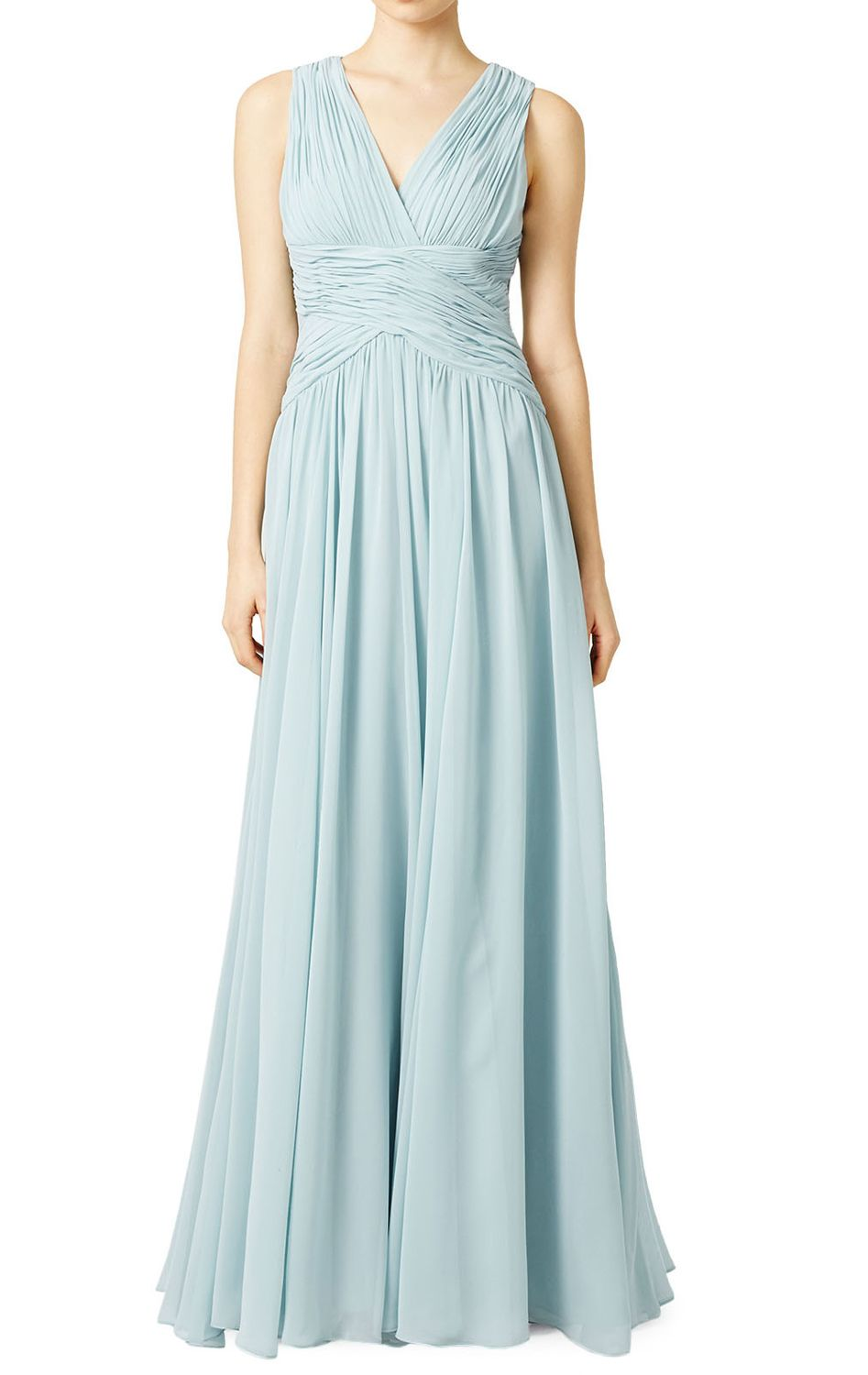 Straps V Neck Chiffon Sky Blue Formal Gown Simple Prom Dress ...