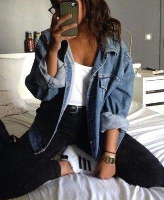 869b5babd0 jacket blue jeans blue jean jacket jeans top high waisted jeans black jeans  grunge jean jacket adidas
