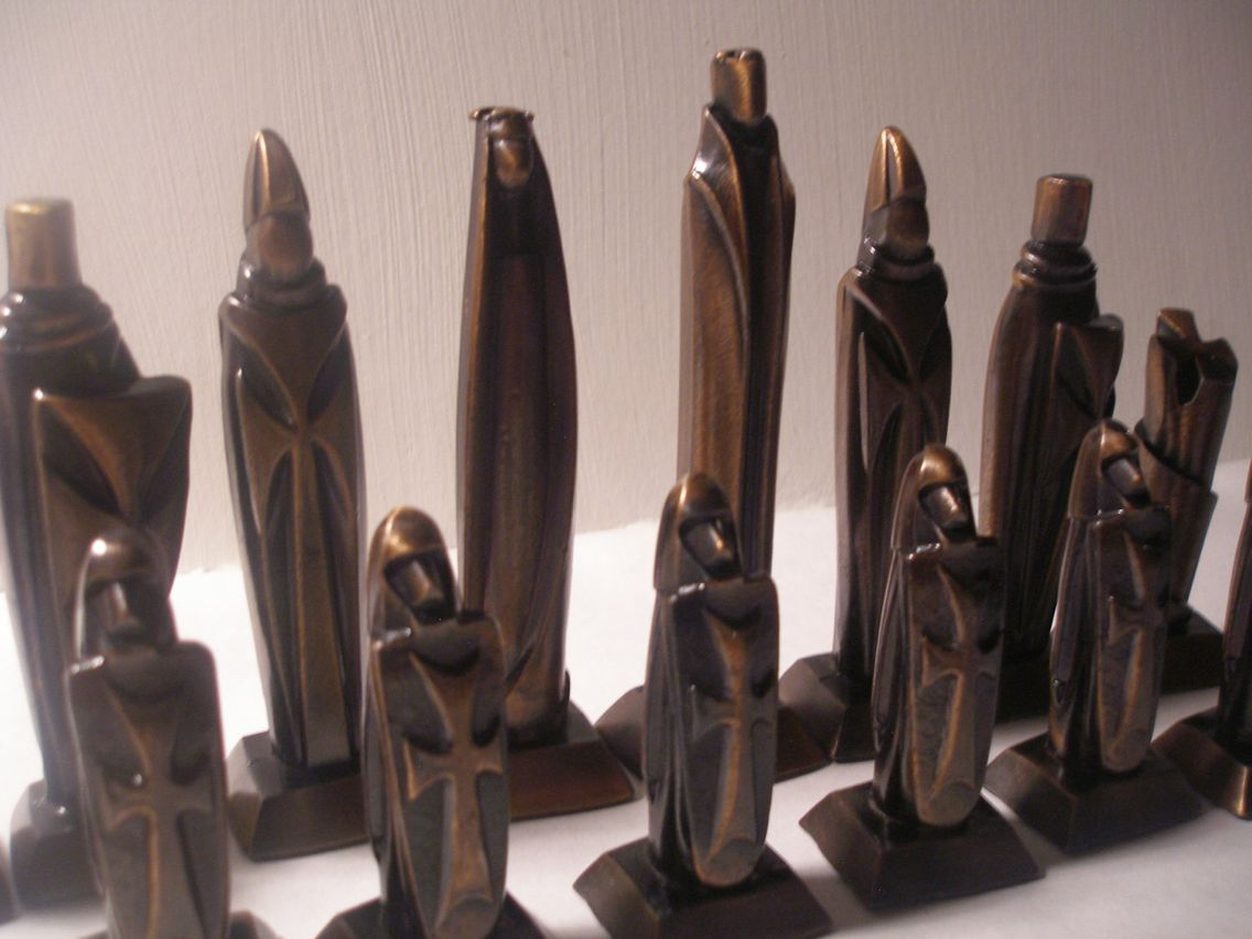 Contemporary Chess Set huge impressive mid-century gothic contemporary chess set. | mid