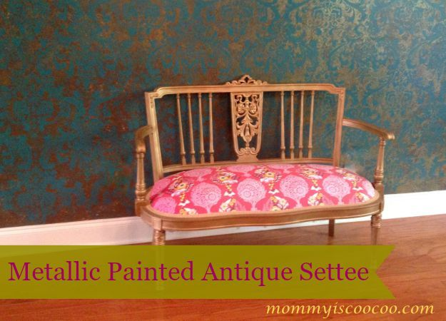 Metallic Painted Antique Settee - Mommy Is Coo Coo