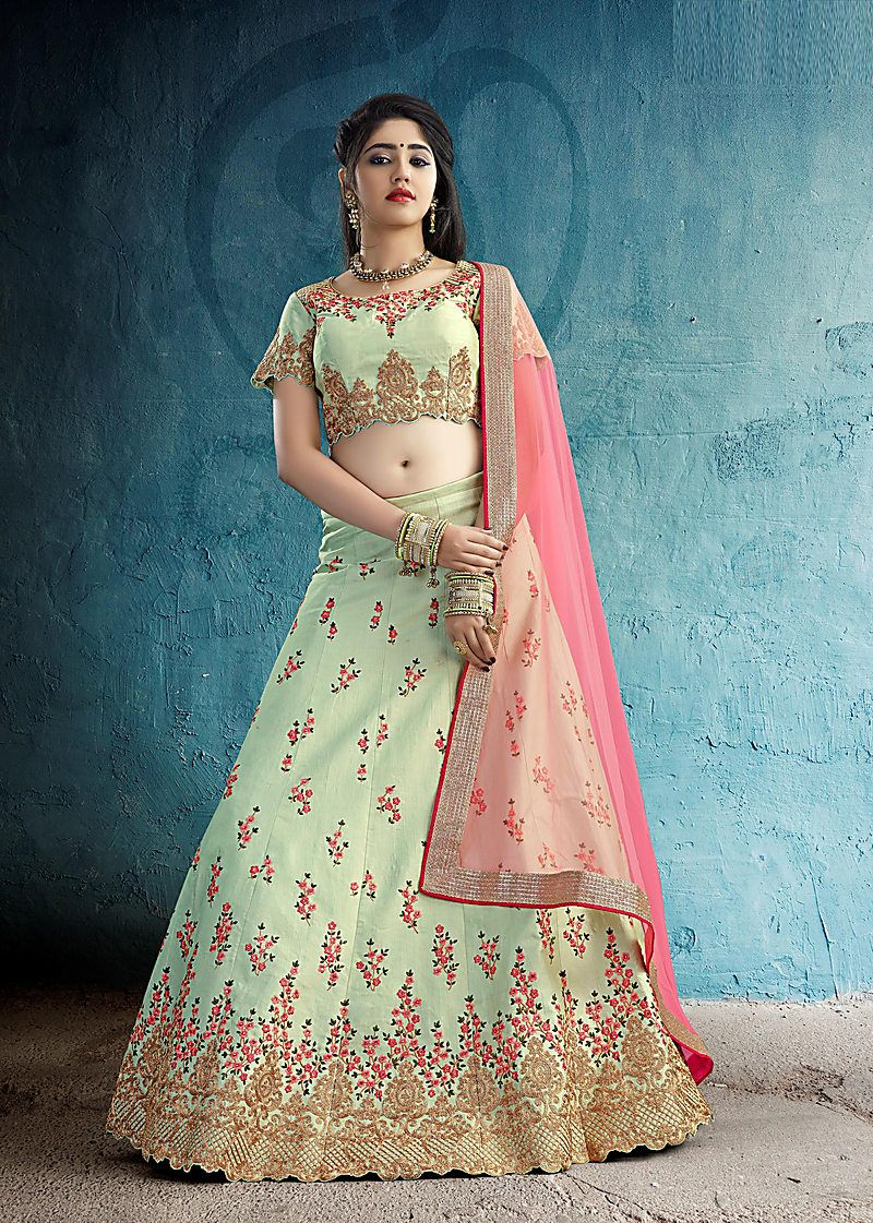 24a4e798cfe Buy Craftsvilla Pastel Moonga Silk Designer Aari Embroidered Semi-stitched  Lehenga Choli Online