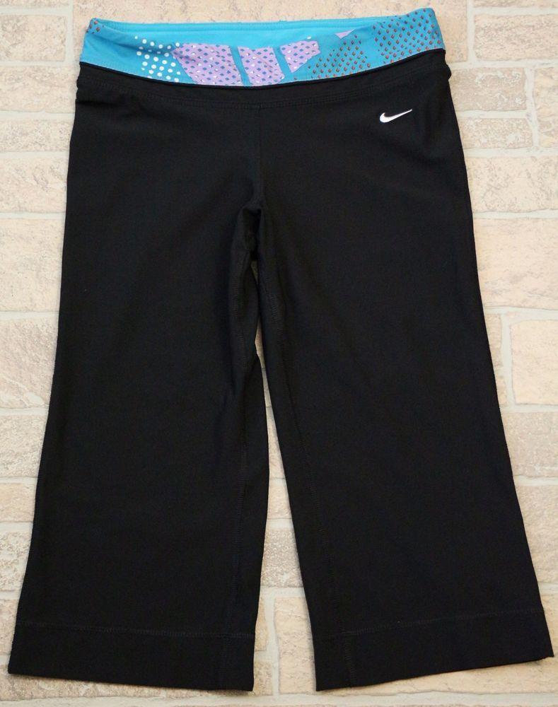 Nike dri fit black blue crop pants shorts capri athletic