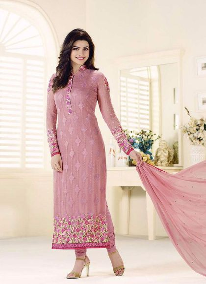 b06491813f Pink Straight Cut Georgette Party Dress Material with Chiffon Dupatta