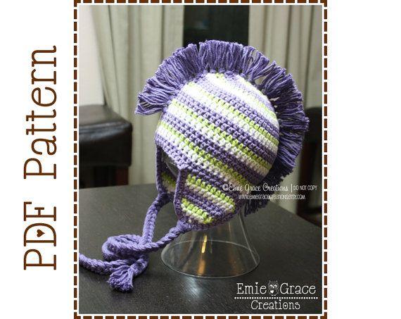 Mohawk sombrero Crochet Patrón DYLAN 308 por EmieGraceCreations ...