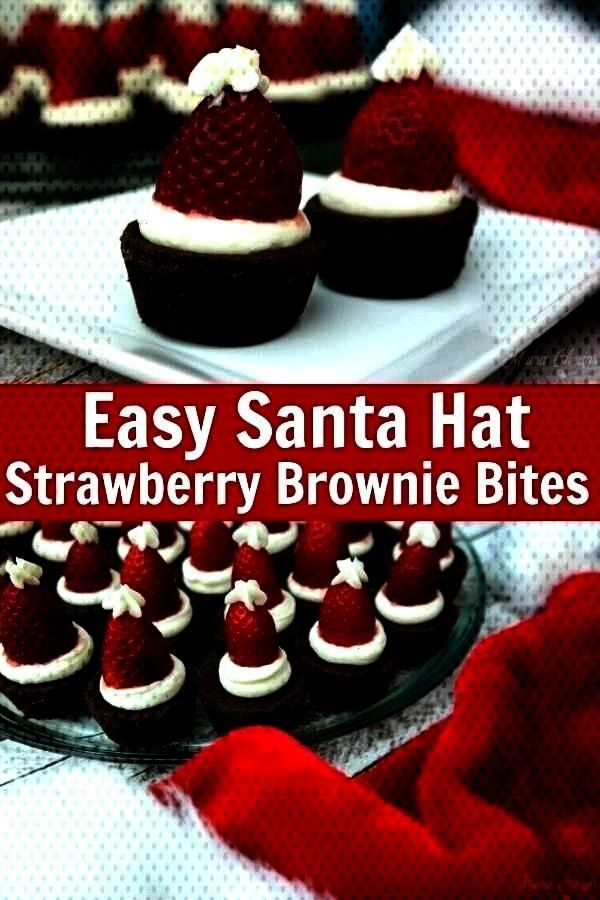 Hat Strawberries | Mama Cheaps Easy and super cute Christmas treat! Use homemade brownies or Santa