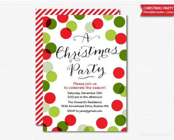 Christmas Party Invitation Printable Holiday Celebration Digital File Pdf Invite Traditional Colors Polka Dots Confetti