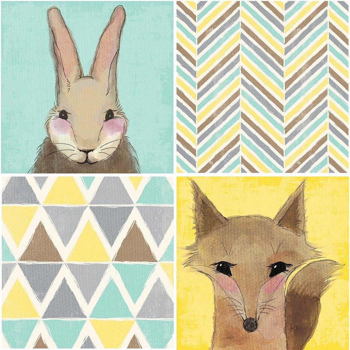 Fox/Rabbit Canvas - Set of 4 Nursery Wall Art | Nursery and Babies