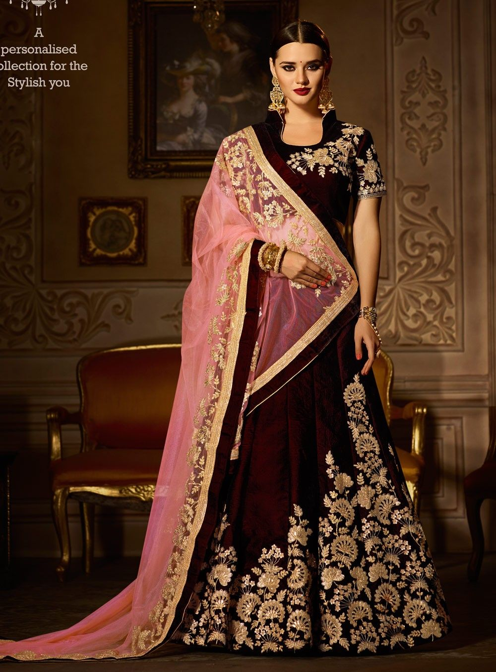 a46a551049e Wine color wedding wear Indian lengha with jacket style choli ...