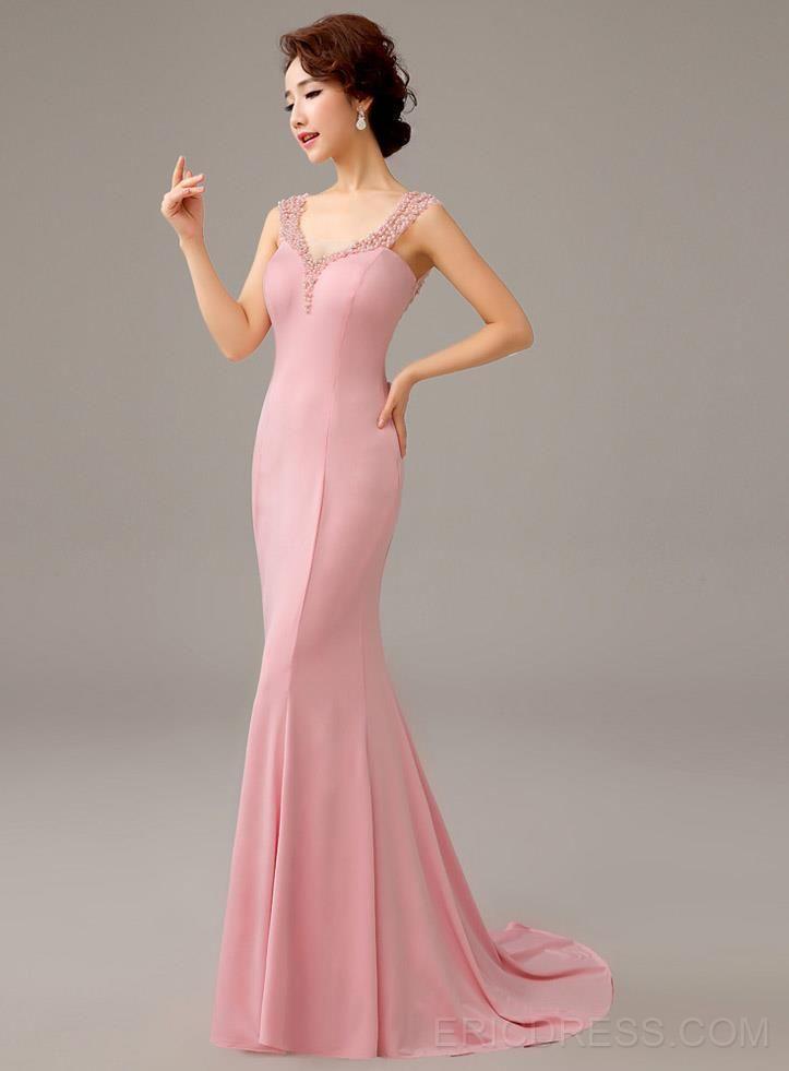 Classy Bowknot Mermaid Court Train Evening Dress | Vestiditos