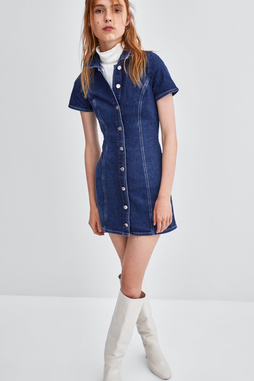 Ladies Denim Dress Full Length Buttons Pockets Womens Blue Jeans Mini Dress BNWT