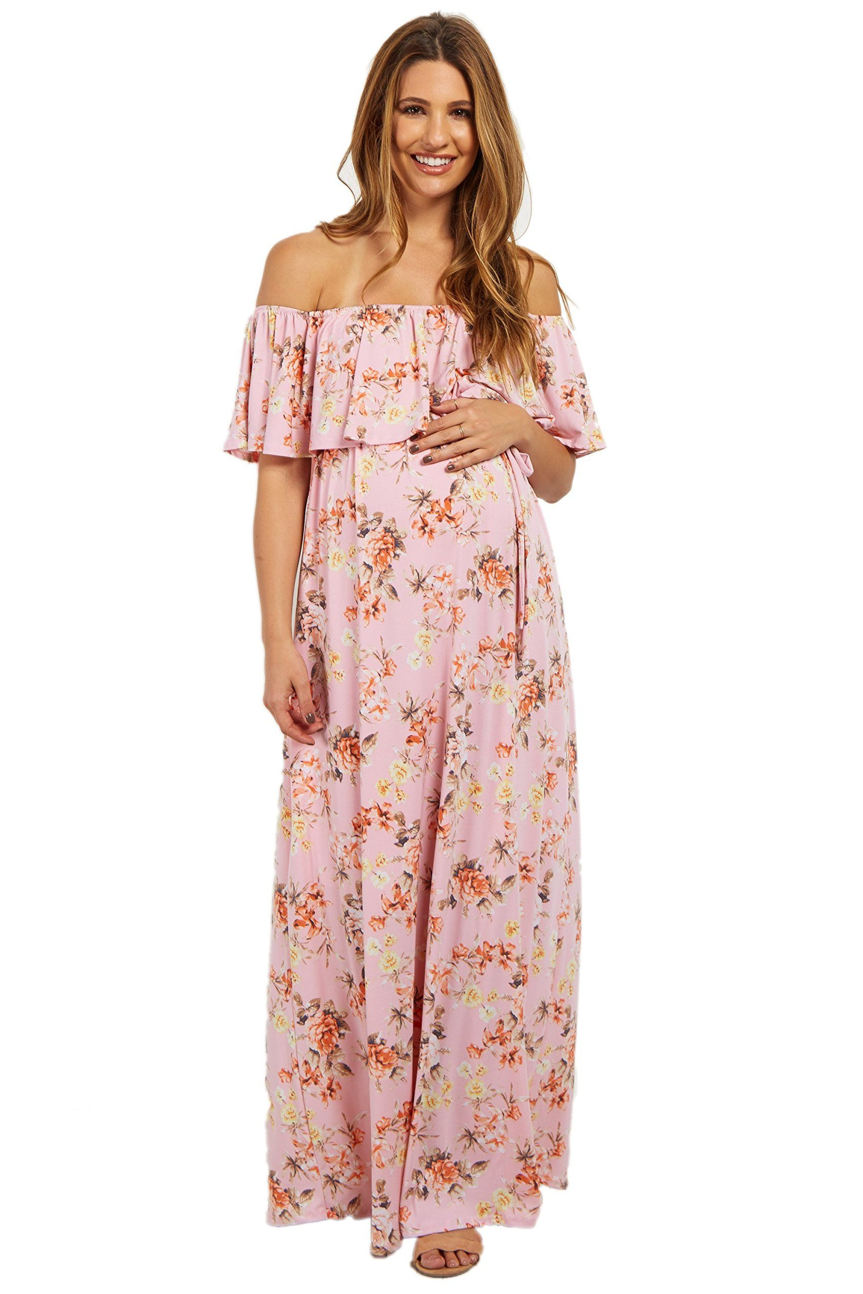 c6377edc83c3 Maternity Styles - cool maternity maxi dress : PinkBlush Maternity Light Pink  Floral Off Shoulder Sash Tie Maternity Maxi Dres *** You could obtain added  ...