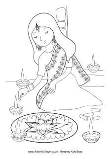 Diyas Coloring Page Diwali Festival Coloring Pages 282025 Ganesha