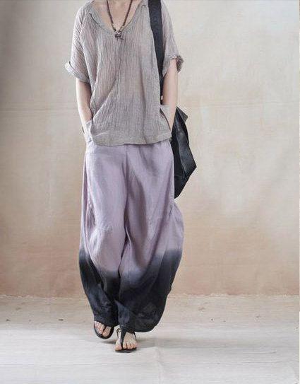 women linen wide leg pants baggy loose pants Loose by customsize ...