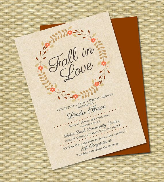 Fall In Love Bridal Shower Invitation Wreath Autumn Any Color