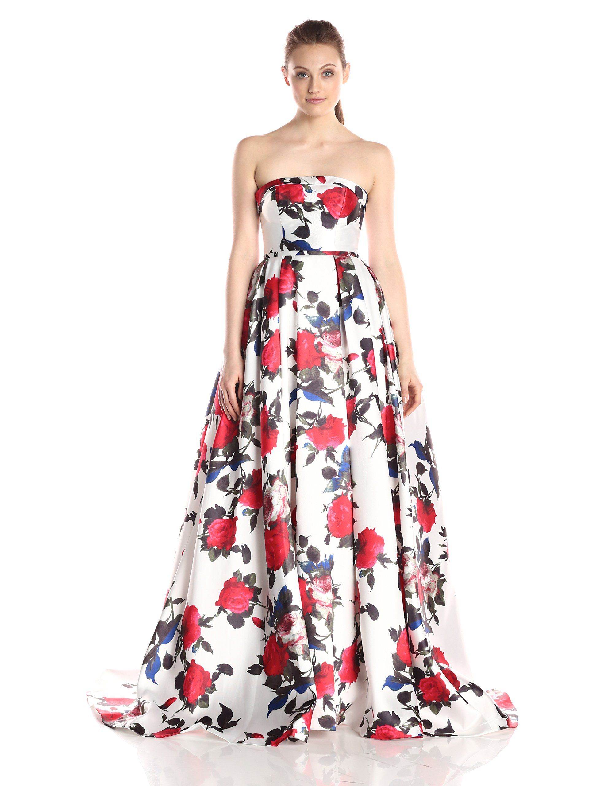 Mac duggal womenus long rose floral printed ballgown whitemulti