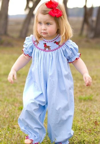 21e370c5f1 Hand smocked Chocolate Lab Bubble for Girls. Would be great for fall or  spring !