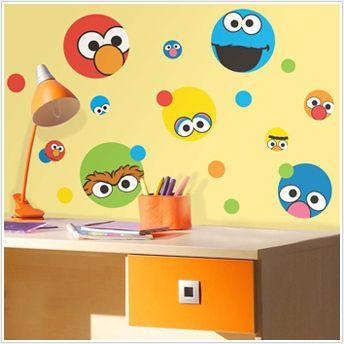 Sesame Street 27 Big Wall Stickers Polka Dot Decal Elmo Abby Room