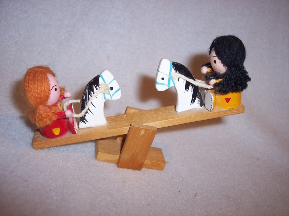 Figurine Girl  Wood Teeter Totter See Saw Horses Yarn Hair  #Unknown
