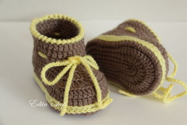 Crochet baby booties, baby shoes, boots, yellow, brown, 3-6 months ...