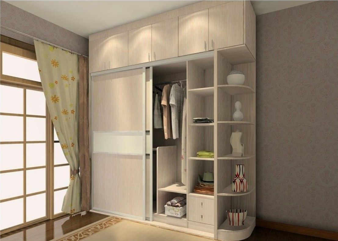 Sliding Two Door Wardrobe Design With Side Corners Storage Shelves Id569 -  Fixed Wardrobe Design Ideas
