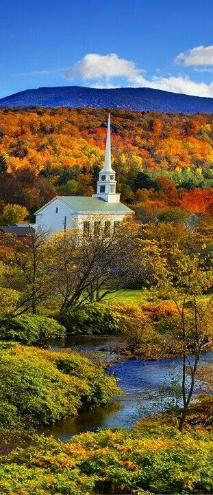 i love a church steeple with a landscape background